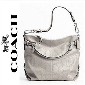 Coach Gray Brooke Perforated Leather Bucket Bag